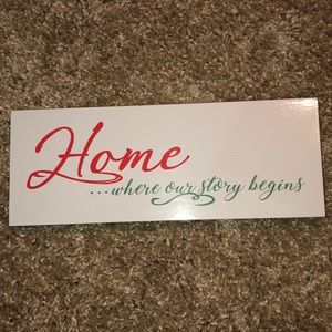 Home where our love story begins sign